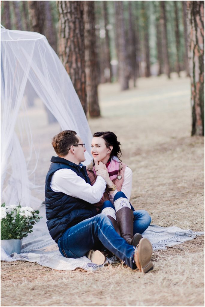romantic camping engagement